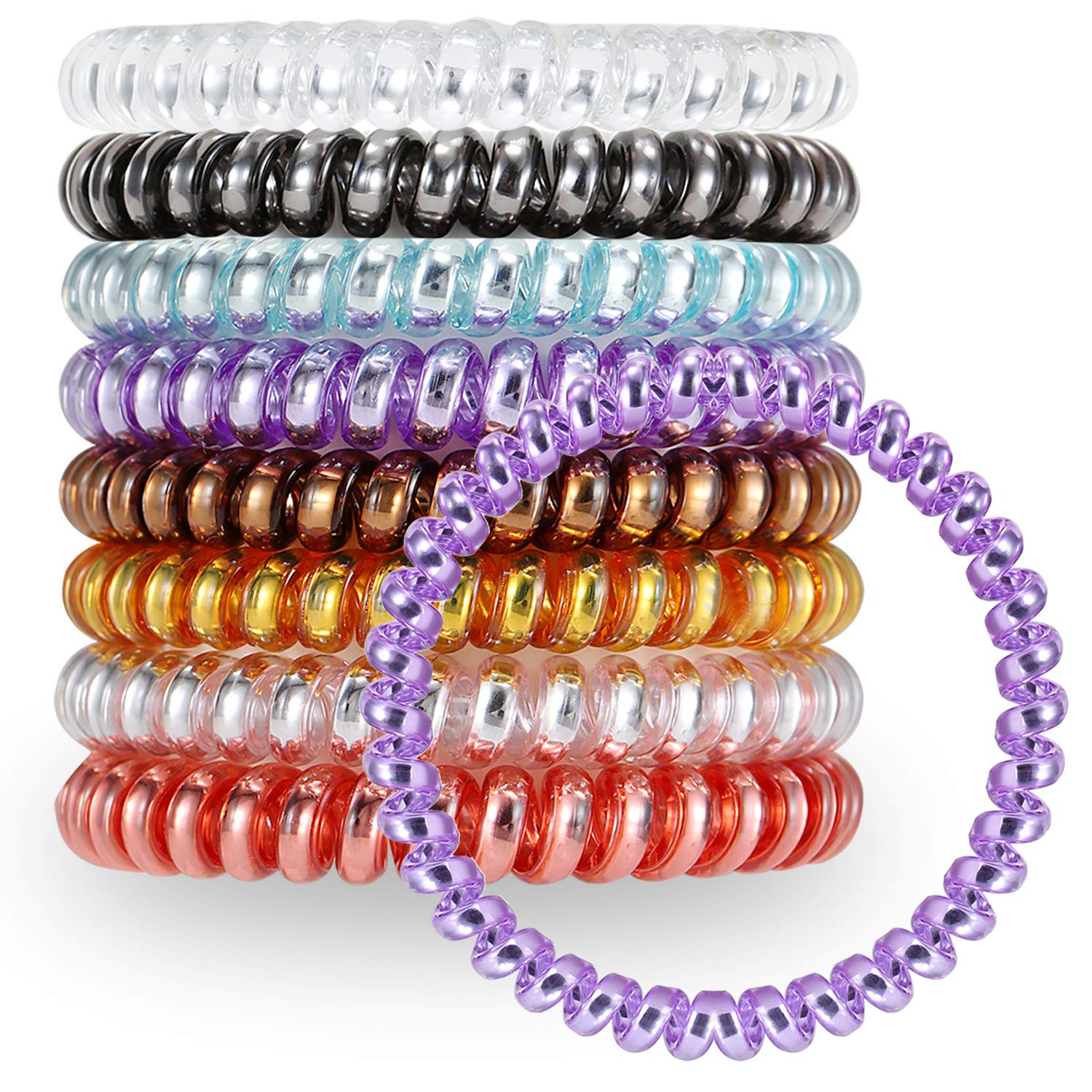 VEGOLS 8 PCS Spiral Hair Ties No Crease, Colorful Spiral Coil Hair Ties for Women Girls, Traceless Phone Cord Hair Ties Elastics Hair Accessories - 8 Mixed Color