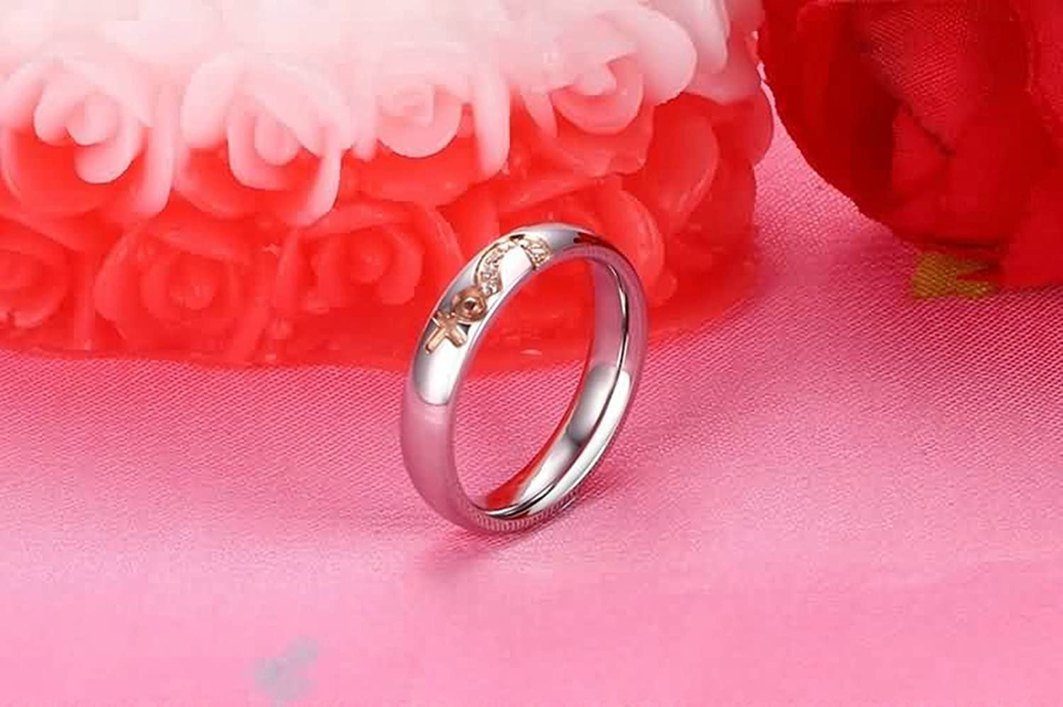 Amazon.com: Aokarry Stainless Steel Couple Rings His and Her Promise ...