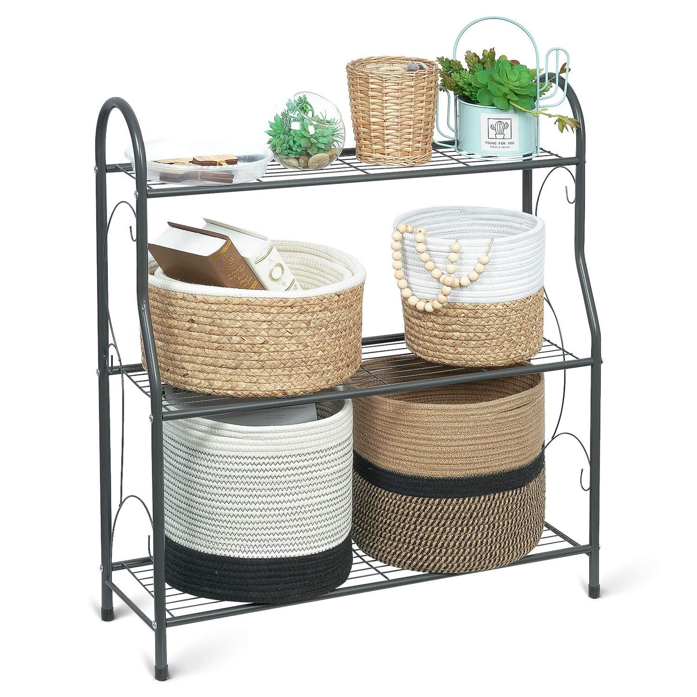 TIMEYARD 3 Tier Metal Plant Stand, Indoor Outdoor Flower Pot Holder, Display Stand Shelf, Storage Organizer Rack for Home, Garden, Patio, Dark Grey