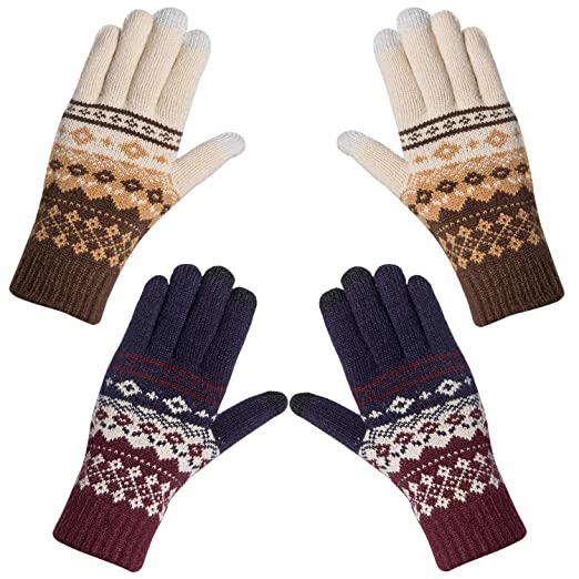 0ed4c7d20 2 Pairs Womens Winter Warm Thick Cable Knit Gloves, Phone Texting Touch  Screen Mittens