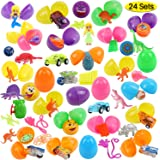 FUNNISM 24 Toys Filled Surprise Eggs, 2.5 Inches Bright Colorful Prefilled Plastic Surprise Eggs with 12 Kinds of Popular Toys