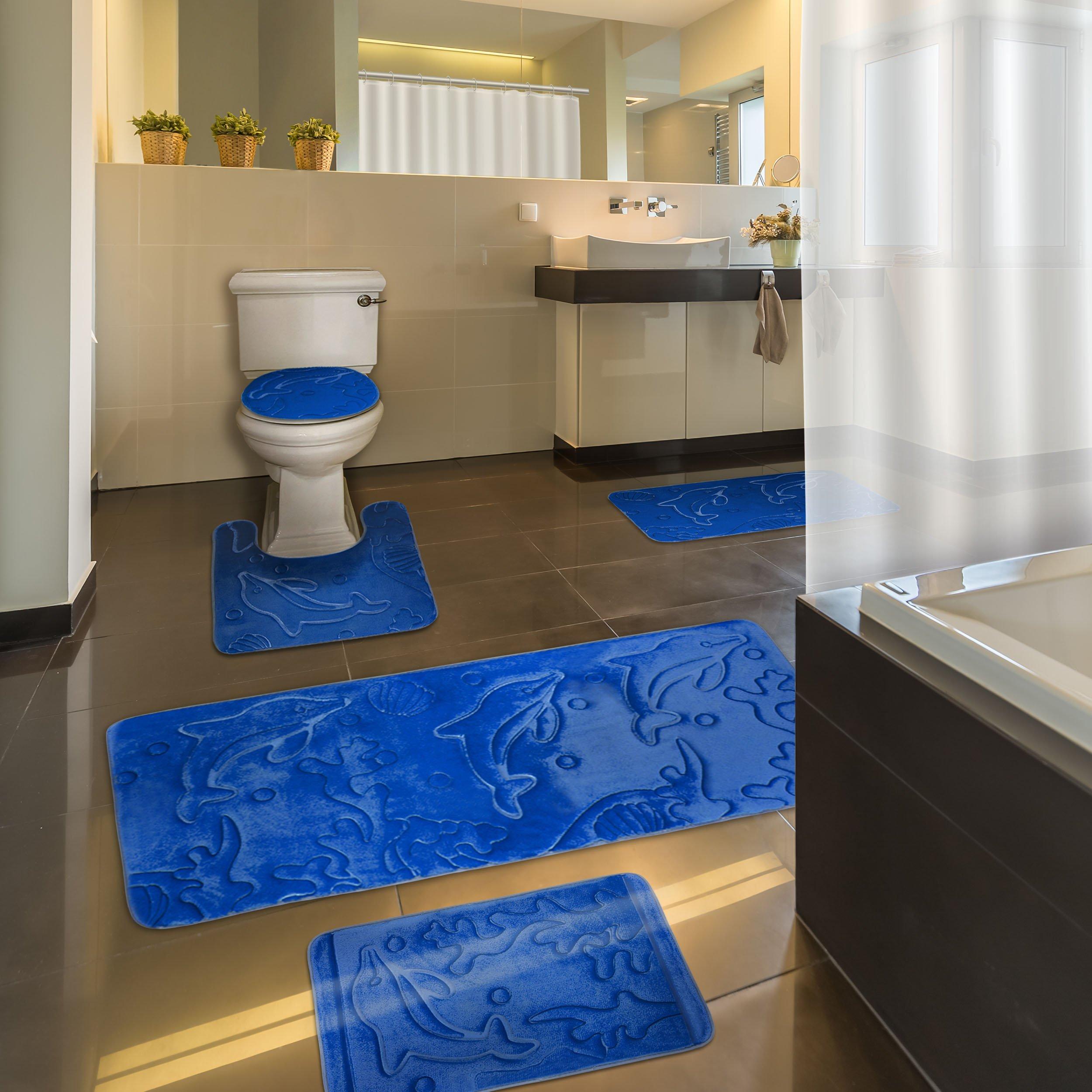 Extra Effiliv Bathroom Rugs Set 5 Piece Memory Foam Mats Eva Shower Liner