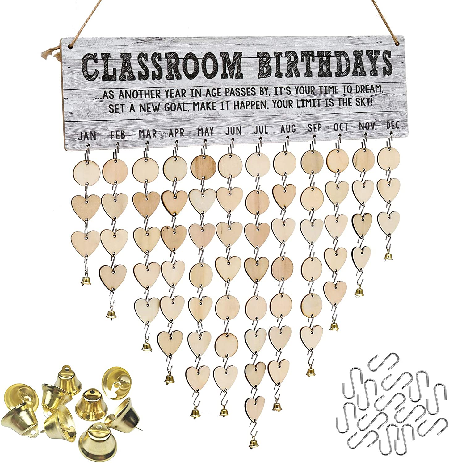 ATOBART Classroom Birthday Board - DIY Wooden Decorative Birthday Reminder Board Wall Hanging Decor with 100 Wood Slices 1 Adhesive Hooks 12pcs Small Gold Bell and 1 Marker Pen