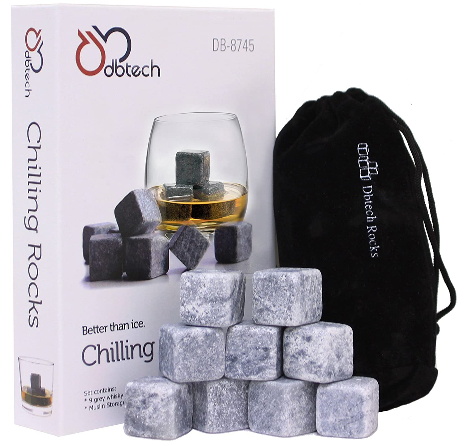 DB-Tech Whisky Chilling Rocks Gift Set - Set of 9 Grey Rocks With A Muslin Pouch - Chill Your Whiskey with these rocks Without Dilution DBTech DB-8745