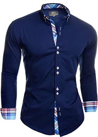 925f15c22c83f D&R Fashion Smart Shirt with Classic Collar Slim Fit Italian Design Navy  Blue
