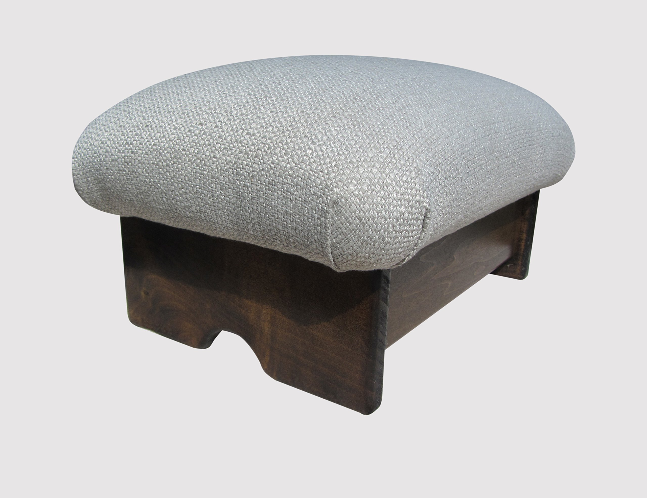 Padded Foot Stool Solid Fabric 7'' Tall Maple Stain (Made in the USA) (Malibu Sea Salt - Maple)