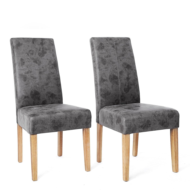 Songmics 2x chaises de salle à manger aspect en velours de suédé gris LDC41G