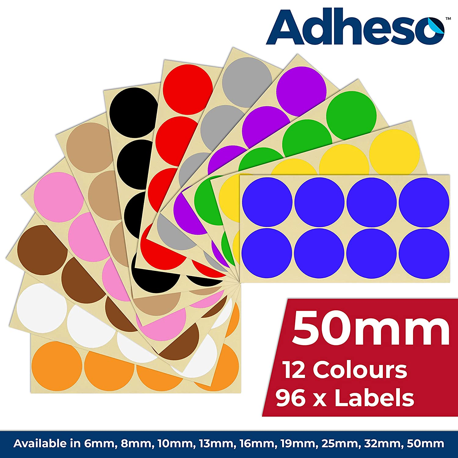 Pack of 2000-8mm Dot Circular Coloured Dot Stickers 20 Colours Premium Pack