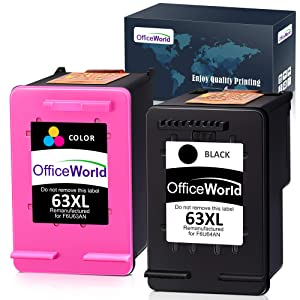 OfficeWorld Remanufactured 63 63XL Ink Cartridge Replacement for HP 63XL 63 XL Ink Cartridge (Black + Color), Work with HP Envy 4520 4516 Officejet 4650 3830 3831 4655 Deskjet 2130 2132 1112 3630 3633