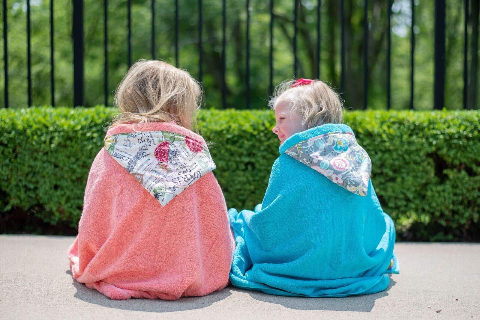 Outdoor Fun Hooded Towels ✱ Age 0-10 Years ✱ Infant, Toddler, and Big Kids ✱ Bath, Pool, Beach Towel ✱ Extra Large Size 30x54'' ✱ Soft Plush Absorbent ✱ Handmade in USA (Soccer Blue, Cotton)
