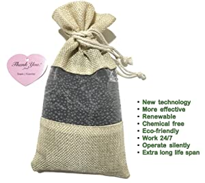 SimpleAndEssential Unscented Charcoal Air Purifying Freshener Deodorizer Bag: Smoke Eliminator, Odor Remover, Moisture Absorber for Home, Fridge and Car (1x250g Linen Bag)
