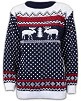 Papermoon - Pull tricotéà manches longues avec imprimé des rennes - Pulls - Femmes - Bleu marine - 42-44