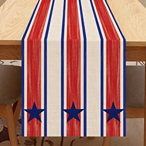 Seliem American Red White Blue Table Runner, Patriotic Star Stripe Table Scarf Home Kitchen July 4th USA Decor Sign, Summer Memorial Day Farmhouse Dining Decoration Independence Day Party Supply 13X72