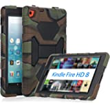 KIDSPR Fire HD 8 Case 2016, Silicone [Protective] Shockproof Kids proof Impact Resistant Outdoor Gift Cases Covers with Stand for 2016 Release Amazon Fire 8 Inch Tablet (2016 Only)(Camo Black)