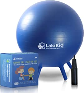 LakiKid Balance Ball Chairs for Kids - Perfect Stability Balls for Flexible Seating Classroom - Fun Alternative Seating for Students (Kids (45cm), Blue)
