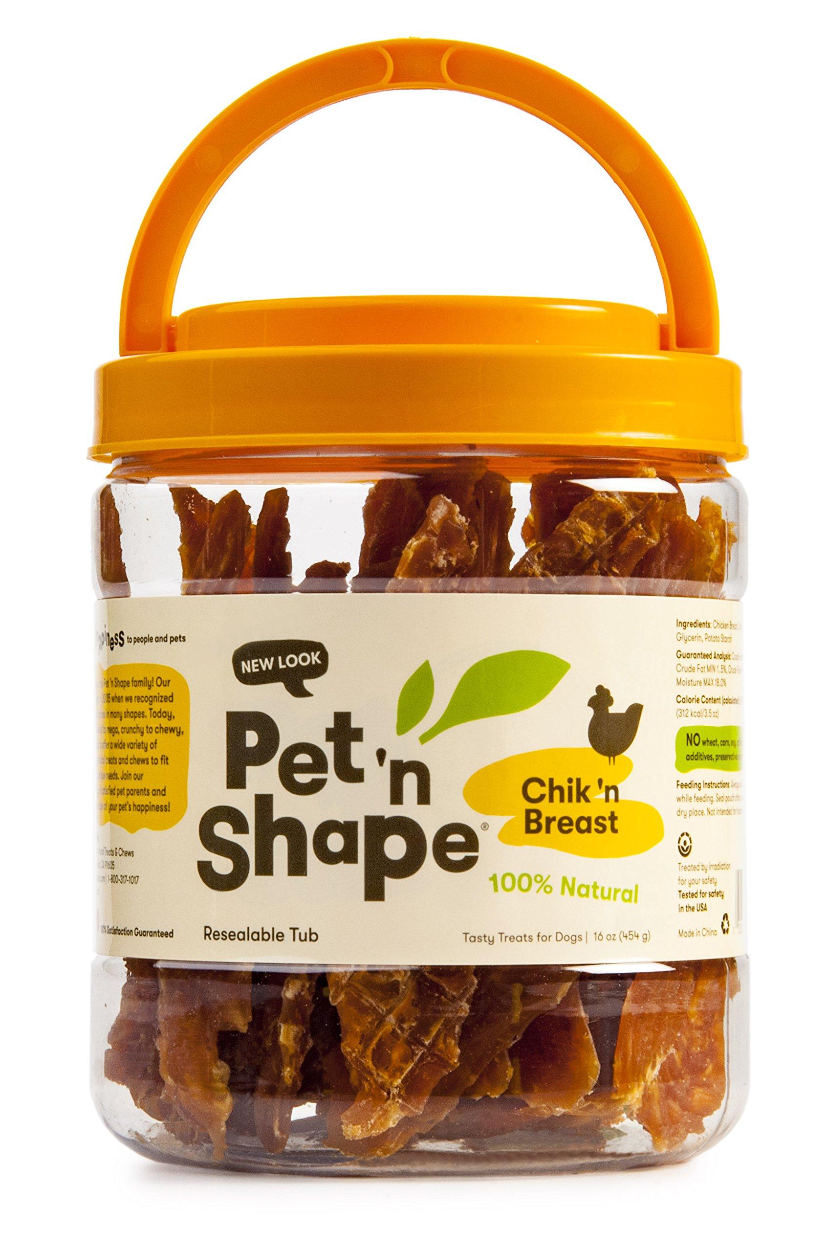 Pet 'n Shape Chik 'n Breast - 100-Percent Natural Chicken Jerky Dog Treats, 1-Pound