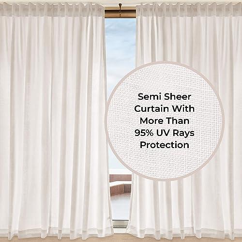 D Moksha Homes 100 Pure Hemp Linen Semi Sheer Curtain White – 52×108 inch. UV Ray Protection. Indoor, Outdoor use, Living, Dinning, Kids Room, Kitchen, Deck, Patio, Cabana, Gazebo. 1 Panel per Box.