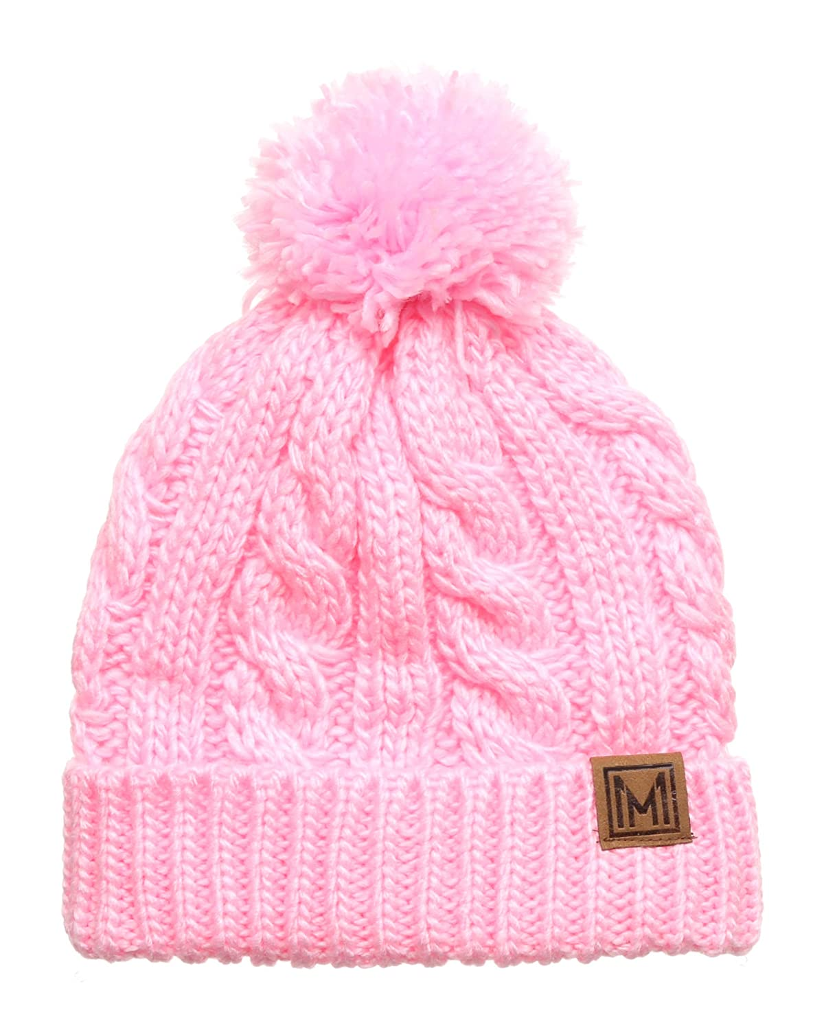 e9aaa890ab7 MIRMARU Winter Oversized Cable Knitted Pom Pom Beanie Hat with Fleece  Lining. (Light Pink) at Amazon Women s Clothing store