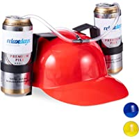 Relaxdays- Gorra Cerveza para Dos Latas, Color rojo