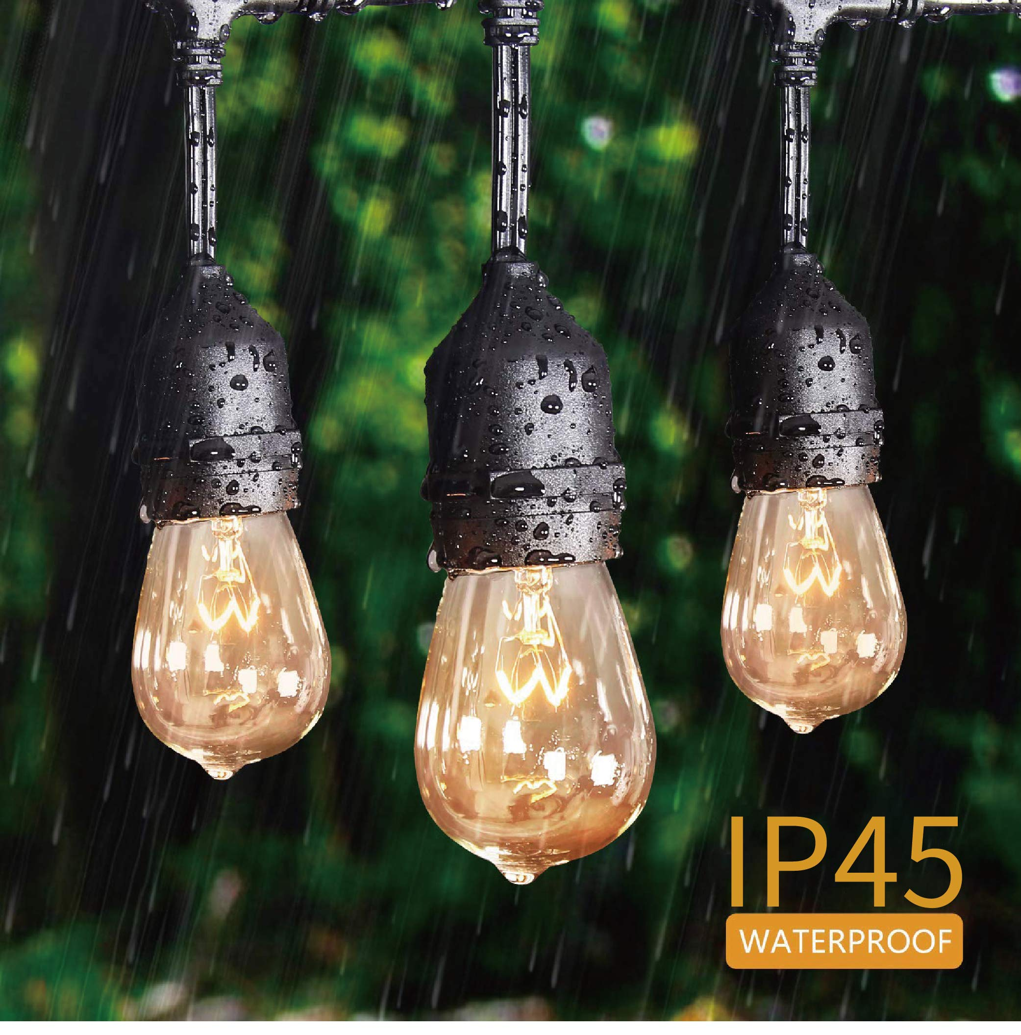KMC 50 FT Waterproof Outdoor String Lights, 16/3 Heavy Duty Power Cord with 15 x E26 Sockets and Hanging Loops, 18 x 11 Watt S14 Dimmable Incandescent Bulbs Included (3 Spares), Perfect Patio Lights by KMC (Image #4)