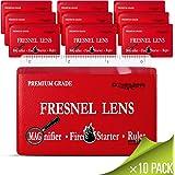 (10 pack) - PREMIUM GRADE Fresnel Lens Pocket Wallet Credit Card Size o Magnifier o Solar Fire Starter o Ruler - UNBREAKABLE Plastic for Home Office Classroom & Outdoor EDC Survival Kit Bushcraft (10 pack)