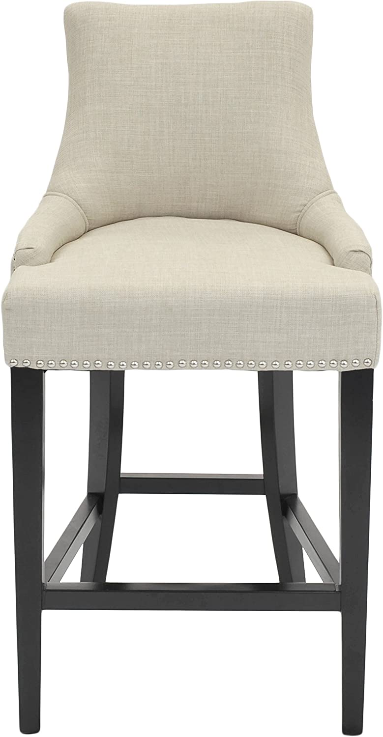 New Pacific Direct Charlotte Fabric Counter Bar Counter Stools, Linen Beige
