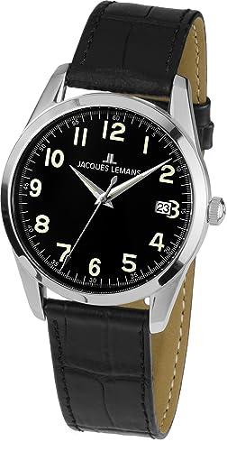 Jacques Lemans Unisex-Armbanduhr  Analog Quarz Leder 1-1769A