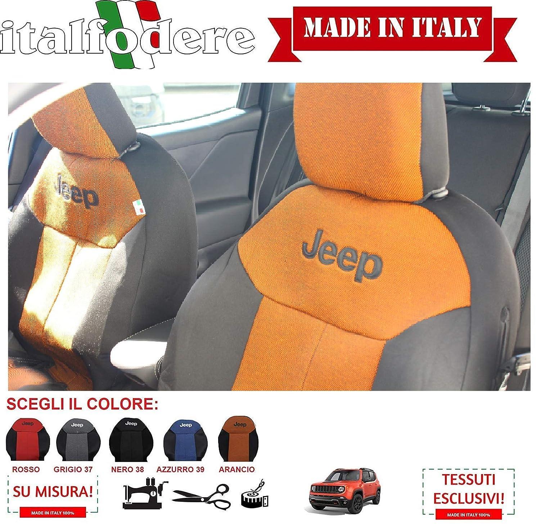 Coppia Fodere Coprisedili Solo Anteriori Jeep Renegade su Misura Arancio Vari Colori