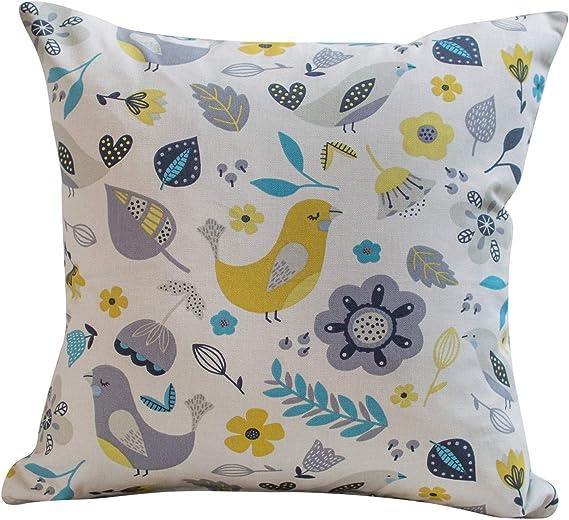Teal Dalarna Nordic Birds Scandinavian Scandi Cushion Cover