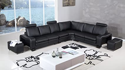 American Eagle Furniture Haverhill Collection Modern Bonded Leather 6 Piece  Sectional Sofa And Wheeled Ottomans,