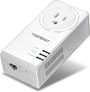TRENDnet Powerline 1300 AV2 Adapter with Built-in Outlet, Gigabit Port, IEEE 1905.1 & IEEE 1901, Range Up to 300m (984 ft.), TPL-423E, White