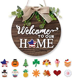 Forwedo Wooden Seasonal Holiday Welcome Sign for Front Door Decor -14 Holiday Interchangeable Icons- Rustic Wall Hanging Porch Decorations For Farmhouse Outdoor, Independence Day,Housewarming Gifts