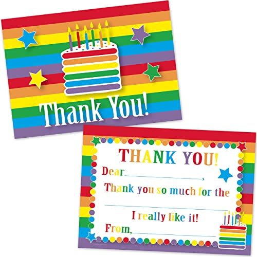 Rainbow Birthday Cake Kids Fill In Thank You Cards for Girls (10 Count with Envelopes)