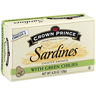 Crown Prince Sardines with Green Chilies, 4.25-Ounce Cans (Pack of 12)