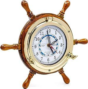 "14"" Authentic Nautical Time Tide Clock Porthole Ship Wheel | Navy Pirate's Gift & Decor | Nagina"