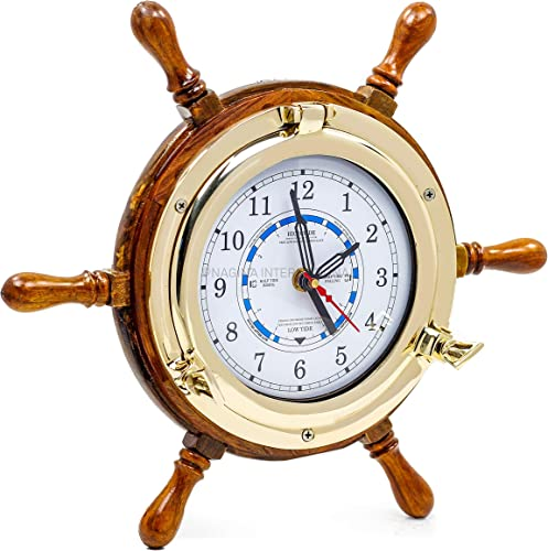 14 Authentic Nautical Time Tide Clock Porthole Ship Wheel Navy Pirate s Gift Decor Nagina