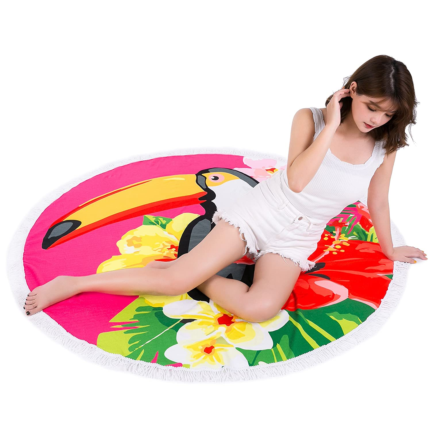 Amazon.com: Redonis Round Beach Towel (30 Options) Oversize Colorful Girls Beach Blanket 60 Inches Womens Large Microfiber Towels Yoga Mat With Tassels ...