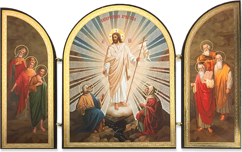 가톨릭 정교회 나무 부활 그리스도 예수 트리티치 러시아어 아이콘 4 3 | 4 인치