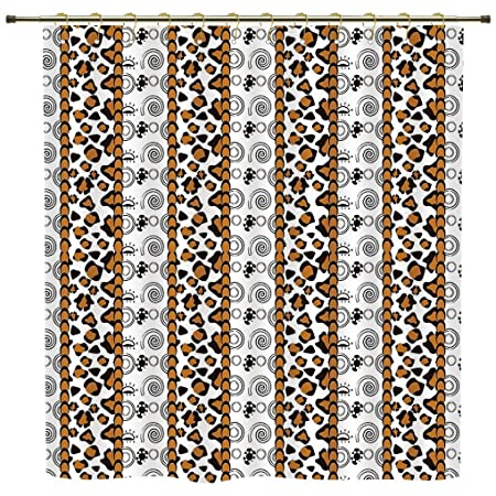 IPrint Shower CurtainZambiaCheetah Leopard Skin Pattern With Wildlife Featured Spirals Illustration