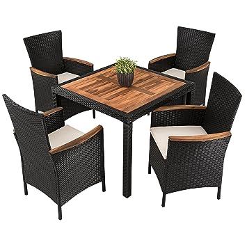 Fantastisch Polyrattan   Akazienholz   Sitzgruppe Modell Kist, Rattan Essgruppe Set,  Gartenmöbel (4 Stühle