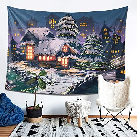 Sevendec Christmas Tapestry Wall Hanging Nature White Forest Snow Wall Tapestry for Party Livingroom Bedroom Dorm Home Decor W90 x L71