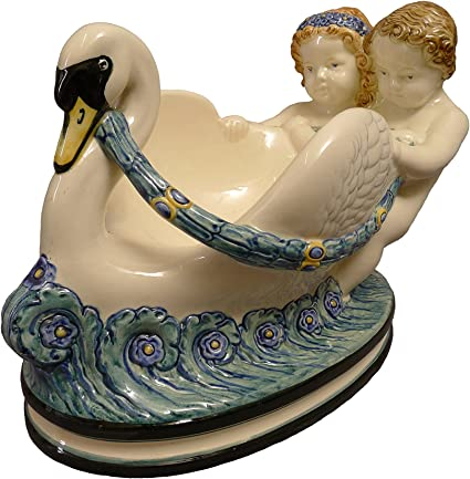 Swan With Two Putten Max Heinze Majolica Decorative Bowl Art Nouveau 1911 Draft Amazon Co Uk Kitchen Home