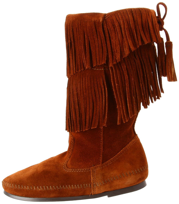 Minnetonka Women's Calf Hi 2-Layer Fringe Boot B0074344GM 9 B(M) US|Brown