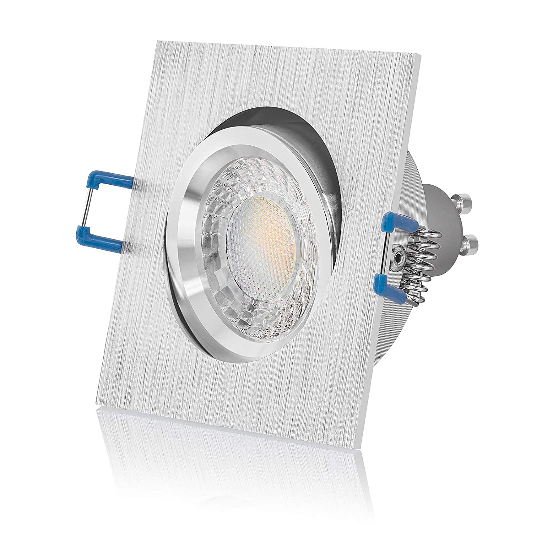 5 x LED Einbaustrahler Set dimmbar & schwenkbar inkl. Einbaurahmen 230V 7W GU10 warm-weiß (3000K 5er Set)