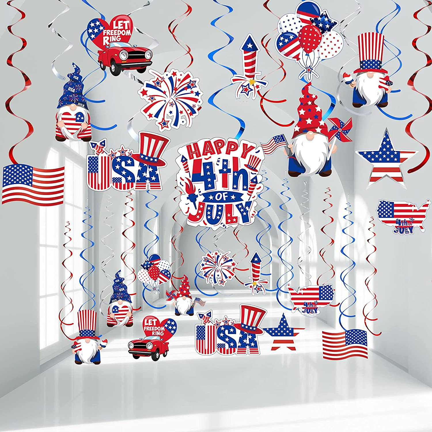 Happy 4th of July Decoration, Independence Day Hanging Swirls Patriotic American Flag/Star Streamers Memorial Day Red Silver and Blue Swirls Decor for 4th July Party Supplies, 30CT