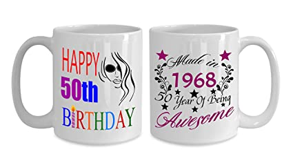 Made In 1968 50 Year Of Being Awesome Mugs For Women 15 Oz