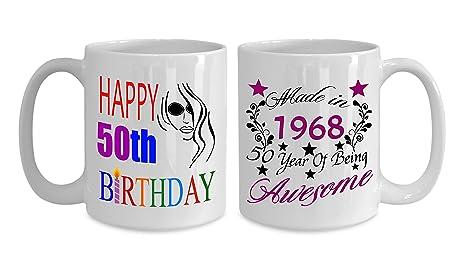 Amazon.com: Happy 50th cumpleaños tazas para mujer. 1968 ...