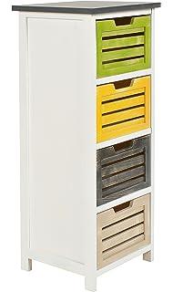 Mobiletto in bianco con cuori decorativi, con 4 cassetti colorati ...