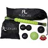 """Massage Ball Set & Muscle Roller Stick Massager - 2 Spiky Ball, 1 Lacrosse Ball, 1 Peanut Ball, & (1) 18"""" Roller Stick. Great For Plantar Fasciitis, Deep Tissue Therapy, & Sore Muscle"""
