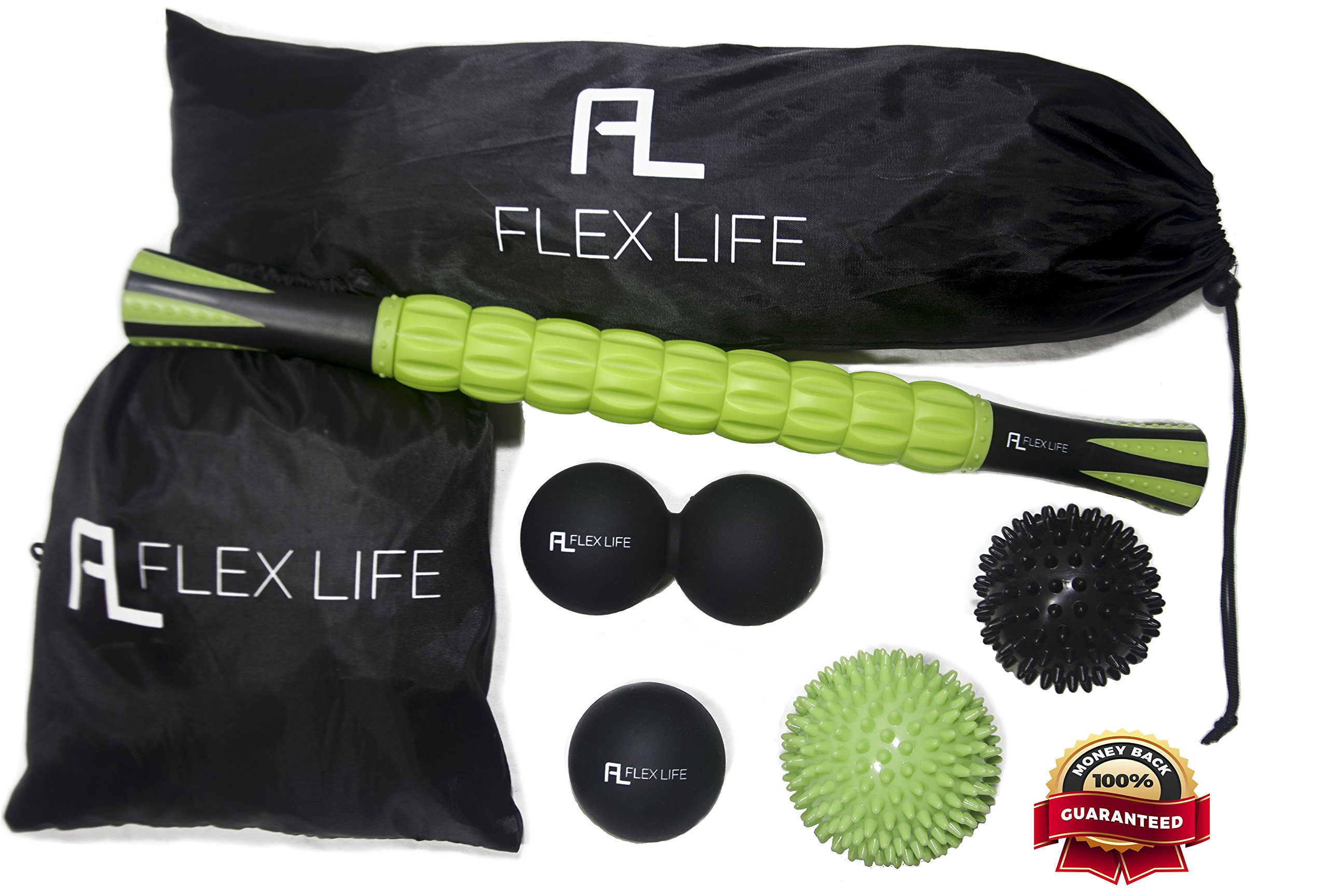 Flex Life Massage Ball Set & Muscle Roller Stick Massager - 2 Spiky Ball, 1 Lacrosse Ball, 1 Peanut Ball, (1) 18'' Roller Stick. Great Rollers For Plantar Fasciitis, Mobility, Recovery, Soreness by Flex Life (Image #1)